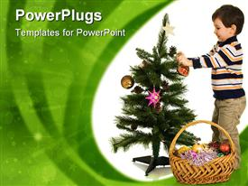 PowerPoint template displaying a kid celebrating the Christmas by preparing the tree