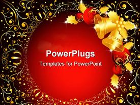 PowerPoint template displaying christmas theme with golden bells and red Christmas globes and golden mistletoes, with golden abstract pattern on red background