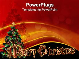 PowerPoint template displaying merry Christmas Depiction composition for holiday border clip art or label with 3D fancy text