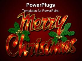 PowerPoint template displaying large red merry Christmas text on a red background