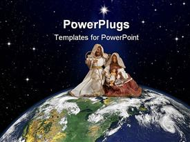 PowerPoint template displaying figurine of biblical Joseph, Mary and baby Jesus on an earth