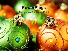 PowerPoint template displaying lots of decorated green and orange colored Christmas ornaments