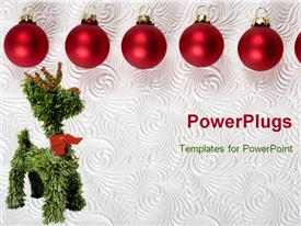 PowerPoint template displaying red Christmas ornaments on white swirl background