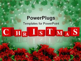 PowerPoint template displaying christmas being celebrated with the help of flowers