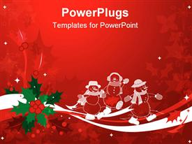 PowerPoint template displaying red & green Christmas background of holly and ribbons