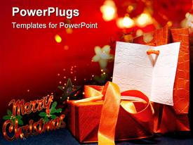 PowerPoint template displaying red Xmas gift box behind tree lights make happiness