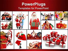 PowerPoint template displaying santa Claus in pajamas holding a gift for you