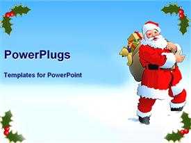 PowerPoint template displaying a cartoon santa clause character carrying some christmas gifts