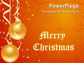 PowerPoint template displaying set orange backgrounds with new year decorations