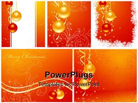 PowerPoint template displaying lots of gold and red colored party balloons with a text that spells out the word