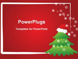 Snow falling on the Christmas tree template for powerpoint