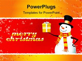 PowerPoint template displaying snowman with gift