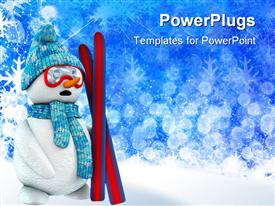 Snowman skier with blue hat and red mask template for powerpoint