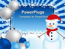 PowerPoint template displaying winter border with Christmas ornaments, snowman and snowflakes