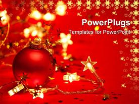 PowerPoint template displaying red Christmas tree ornament with star shaped lights on red background