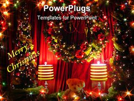 Teddy sitting between two small Christmas trees and two lamps with a wreath over his head powerpoint design layout