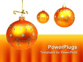 PowerPoint template displaying three shining orange crystal balls on white and orange background