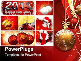 PowerPoint template displaying the celebration of Christmas in the picture along with a cartoon character