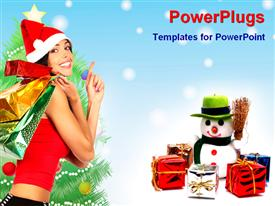 PowerPoint template displaying pretty lady carrying shopping bags with wrapped Christmas gifts and tree