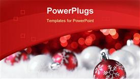 PowerPoint template displaying christmas ball on abstract light background, Shallow Dof
