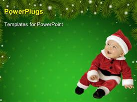 PowerPoint template displaying baby dressed in Santa Claus cloths on green Christmas background
