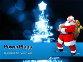 PowerPoint template displaying a cartoon character of Santa clause holding some gifts