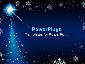 PowerPoint template displaying blue background with snowflakes and Christmas tree decorations