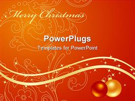PowerPoint template displaying set orange backgrounds with new year decorations. depiction