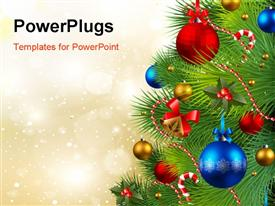 PowerPoint template displaying christmas background with red, golden and blue baubles on Christmas tree
