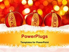 PowerPoint template displaying christmas depiction with three beautiful decorating ornaments in snowflakes