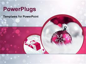 PowerPoint template displaying christmas ornament on abstract light background