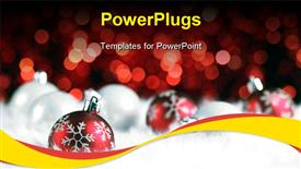PowerPoint template displaying christmas ball on abstract light background