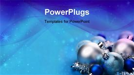 PowerPoint template displaying blue Christmas balls