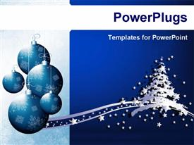 PowerPoint template displaying christmas decoration ornaments with snow