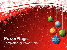 PowerPoint template displaying five christmas balls over a red background with snow flakes