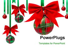 PowerPoint template displaying scottish Christmas balls