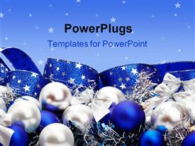 PowerPoint template displaying silver and blue Christmas ornaments and ribbon