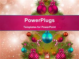 PowerPoint template displaying christmas tree