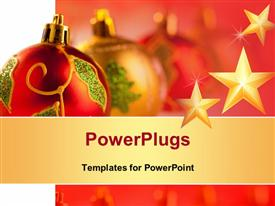 PowerPoint template displaying christmas golden red baubles in a row with colorful lights background