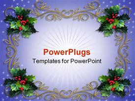 PowerPoint template displaying holiday decorations mistletoe design christmas tree decor