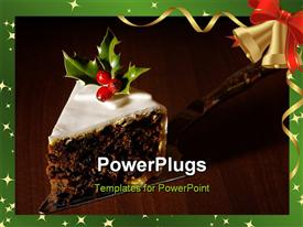 PowerPoint template displaying slice of Christmas cake decorated with holly and berries in the background.
