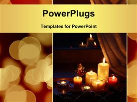 PowerPoint template displaying candles with Christmas decorations in dark interior