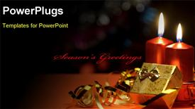 PowerPoint template displaying christmas candles and gift boxes. A celebratory composition
