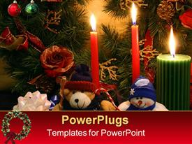 PowerPoint template displaying colored candles with Christmas depiction and teddy bears