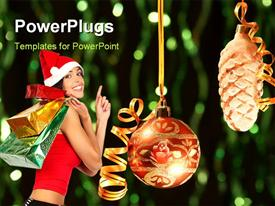 PowerPoint template displaying a girl happy because of Christmas and greenish background
