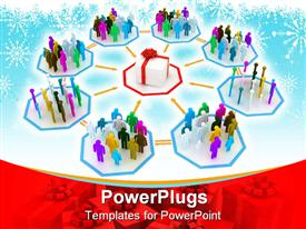 PowerPoint template displaying concept of people purchasing gift for Christmas