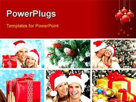 PowerPoint template displaying christmas celebrations with collage of couples celebrating with gift boxes