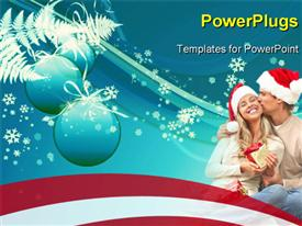 PowerPoint template displaying young happy couple near a Christmas tree