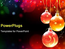 PowerPoint template displaying abstract background with cool Christmas decorations