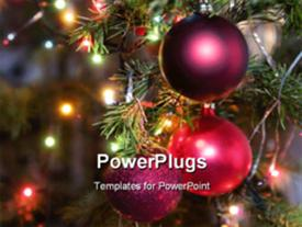 PowerPoint template displaying lots of Christmas lights, tree and some colorful ornaments